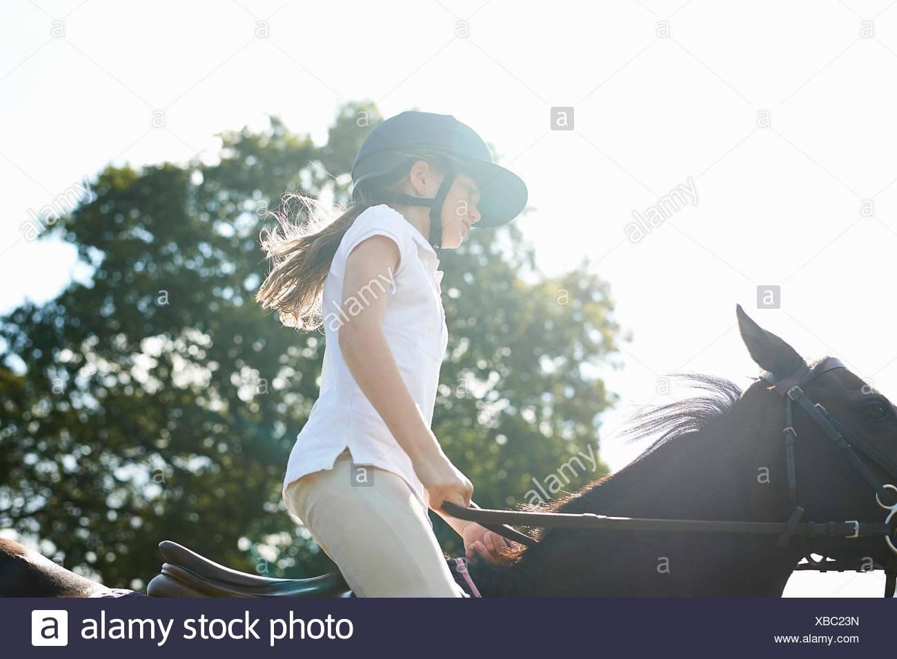 Vista ritagliata della ragazza di equitazione in campagna Immagini Stock