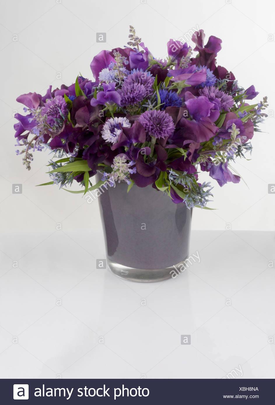 Mazzo Di Fiori Viola.Un Mazzo Di Fiori Viola In Un Vaso Foto Immagine Stock