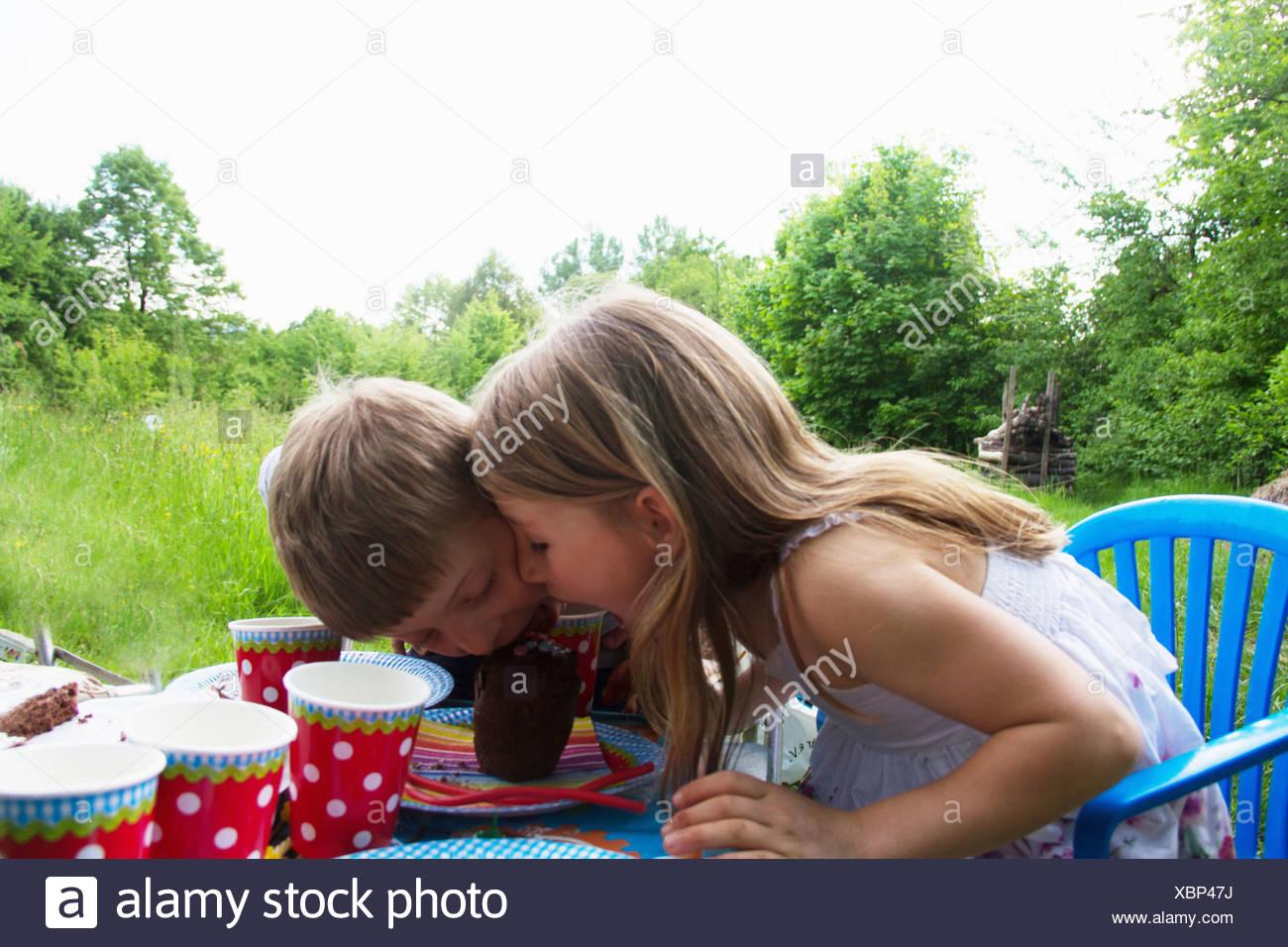 Fratello e Sorella di competere per la torta sul tavolo da picnic Immagini Stock