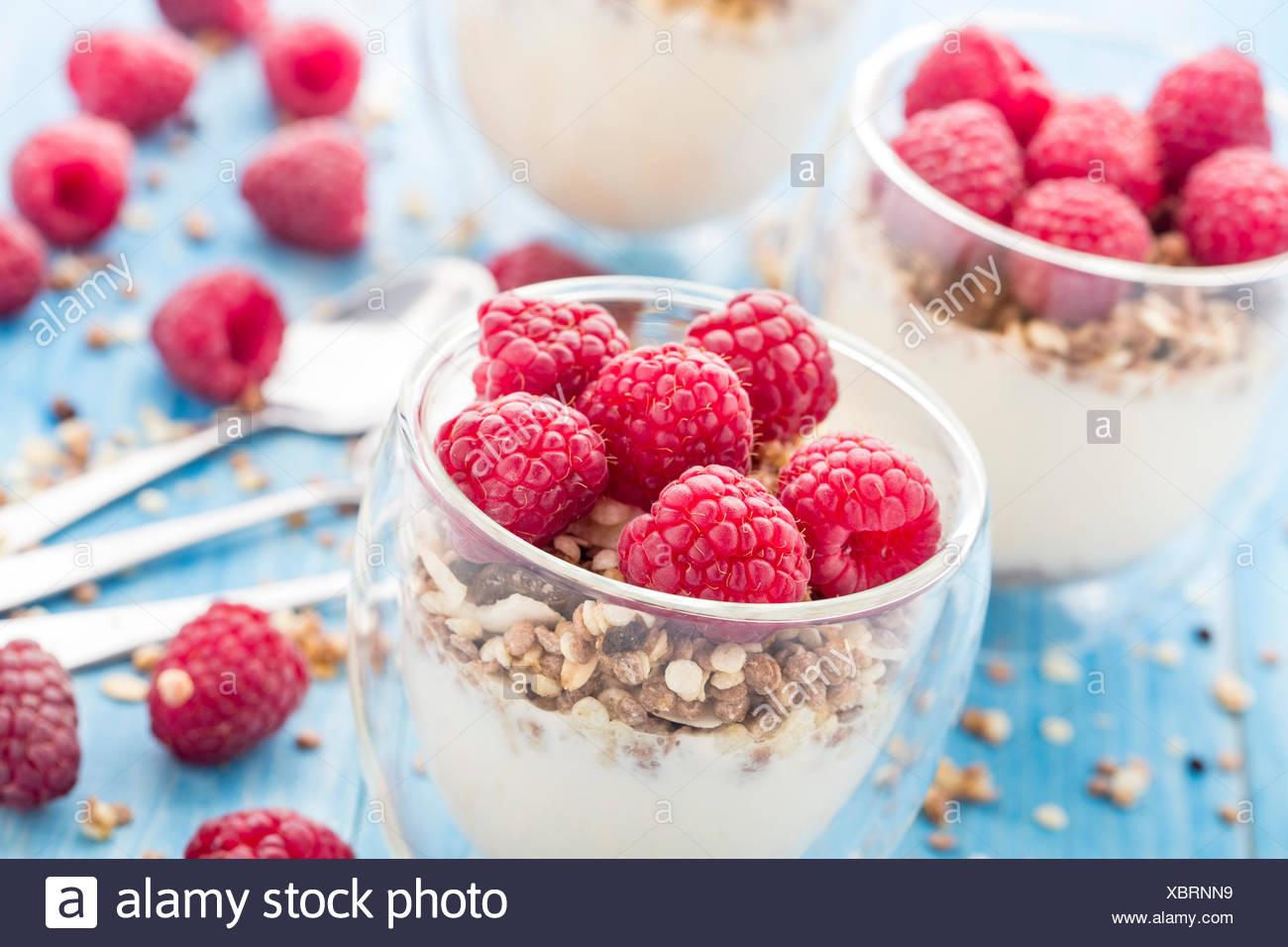 La prima colazione con muesli, yogurt e lamponi freschi Immagini Stock