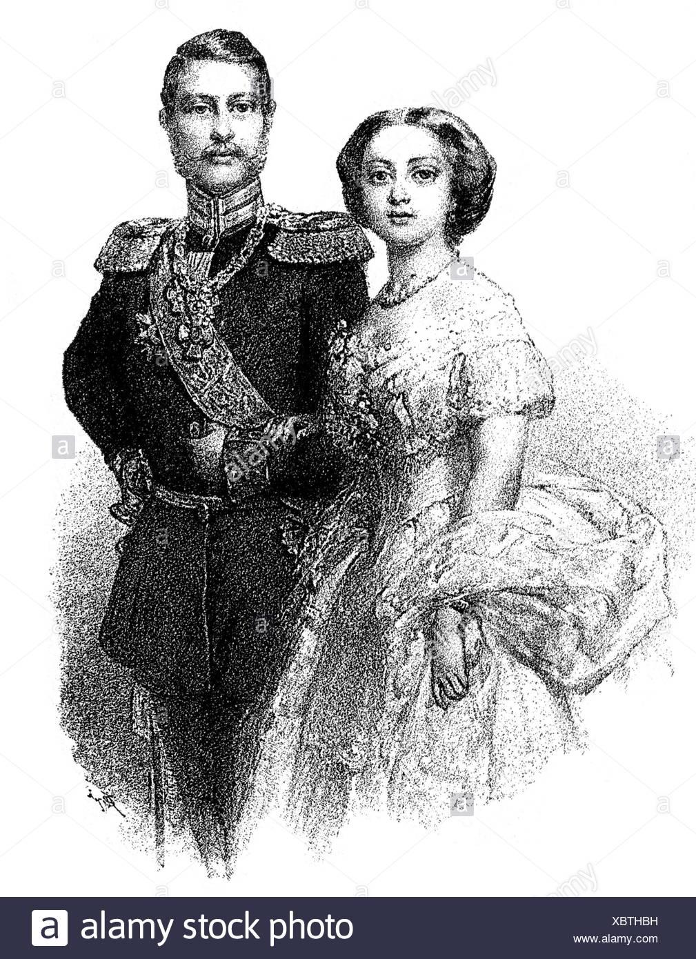 Federico Iii, 18.10.1831 - 15.6.1888, Imperatore Tedesco 9.3. - 15.6.1888, mezza lunghezza, con moglie Victoria Adelaide, incisione in legno, 1857, Foto Stock