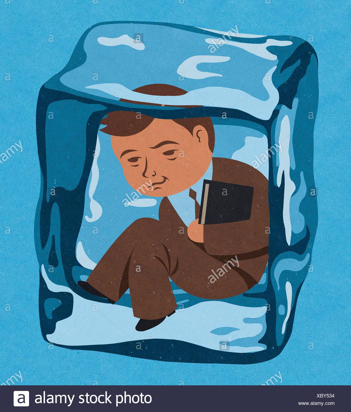 Imprenditore congelate all'interno del cubo di ghiaccio Immagini Stock
