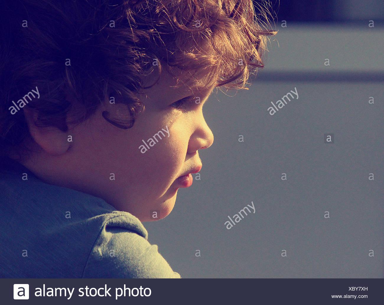 Ritratto di piccolo ragazzo con capelli ricci Immagini Stock