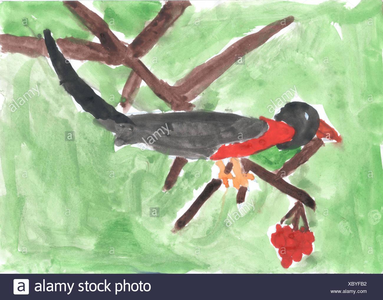 Disegno Di Un Bambino : Un bambino disegno di uccello seduto sul ramo di rowan foto