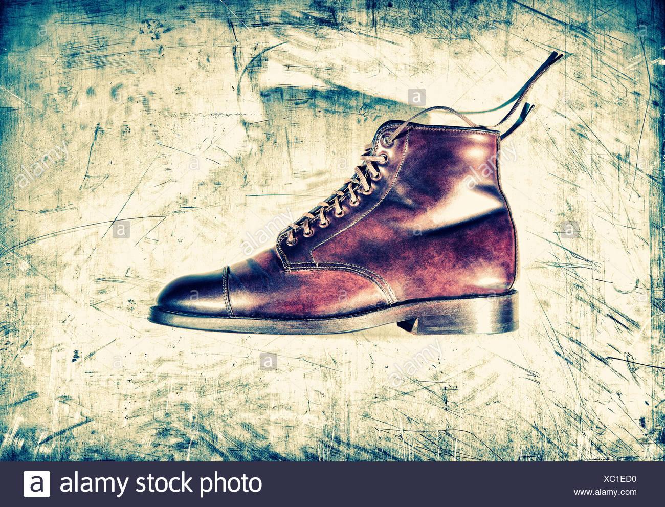 Unico boot marrone Immagini Stock
