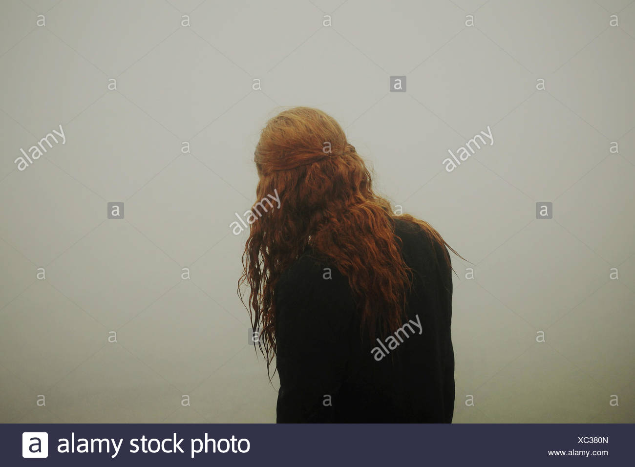 Vista posteriore di una donna con lunghi capelli rossi Immagini Stock