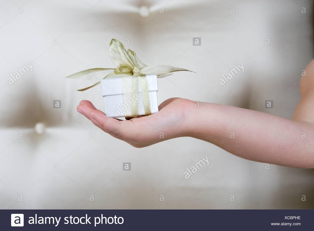 Bambina tenendo un presente, close up Immagini Stock
