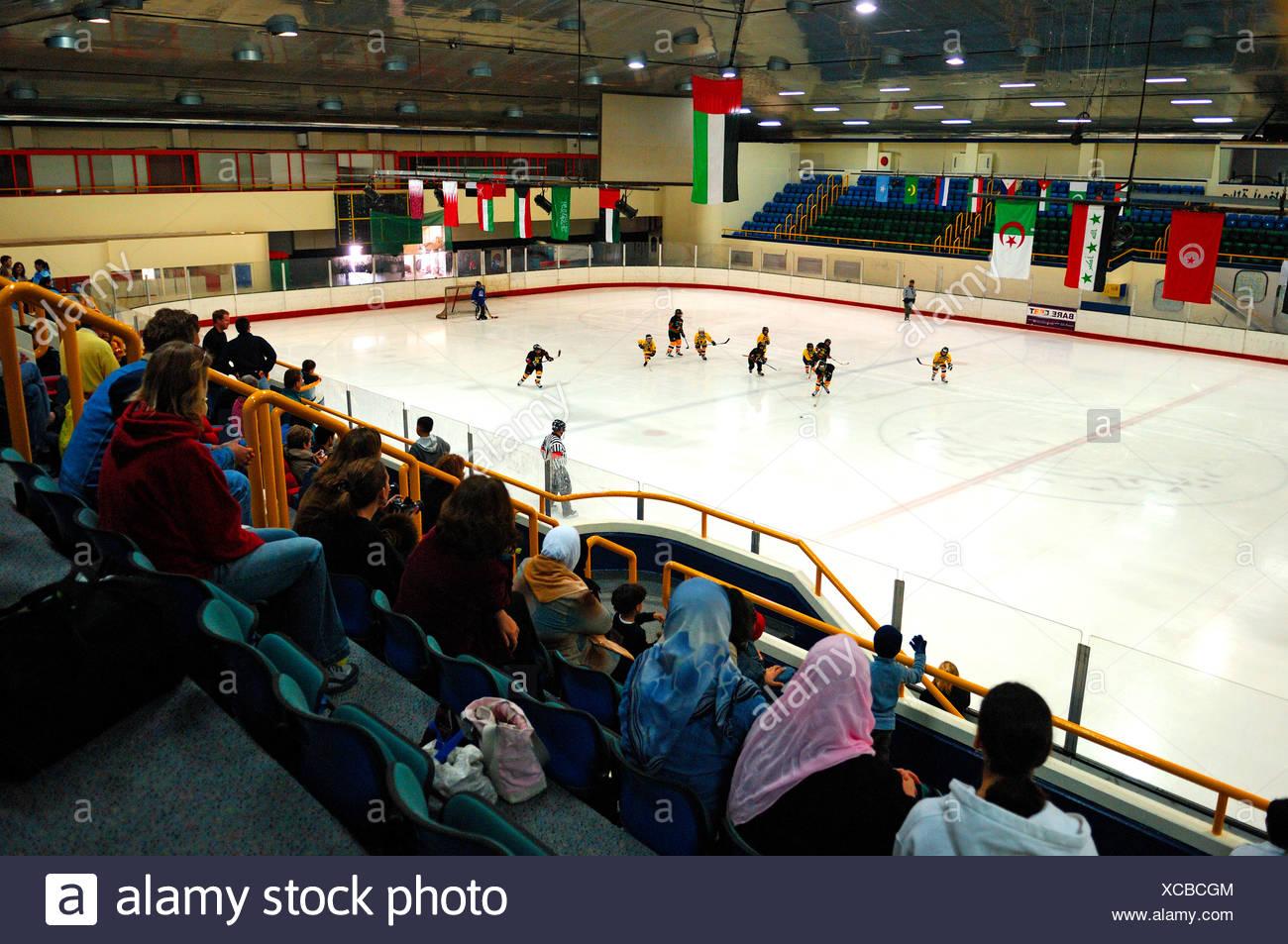 Hockey su ghiaccio pista di pattinaggio sul ghiaccio Immagini Stock
