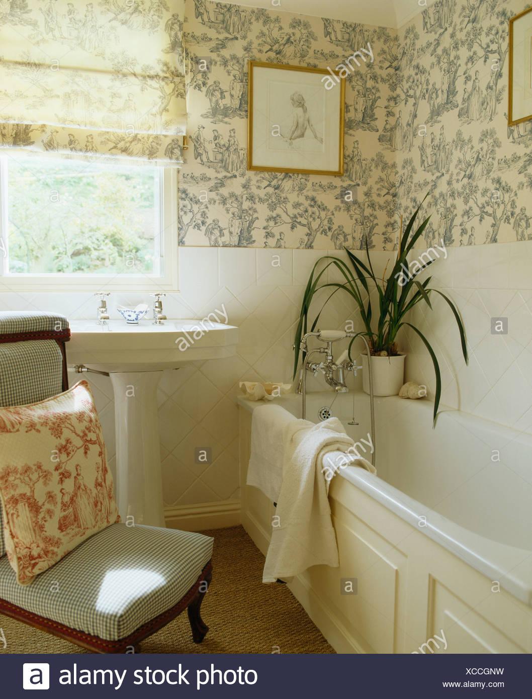 Bagno Piccolo E Cieco.Blue White Toile De Jouy Wallpaper E Cieco Nel Piccolo Bagno