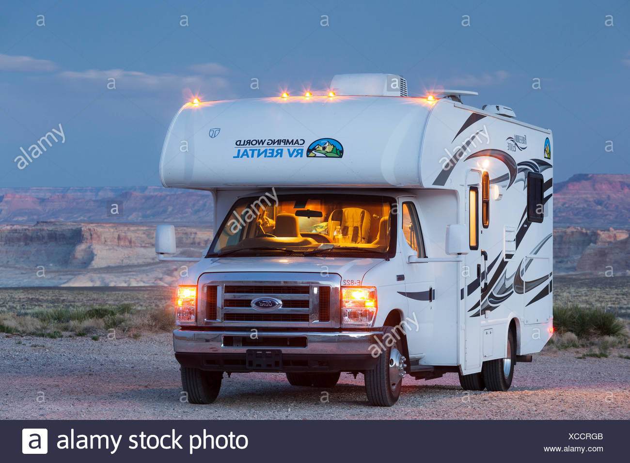 Camper in Glen Canyon National Recreation Area, Utah, Stati Uniti d'America Immagini Stock