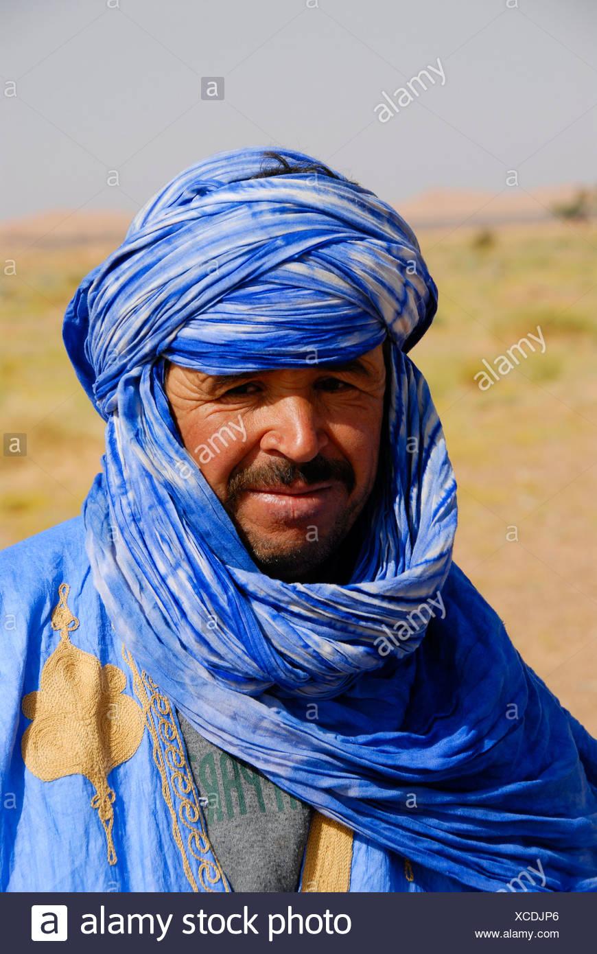 vestito Erg Ritratto turbante blu in Chebbi accappatoio Tuareg e 5wHqFw4