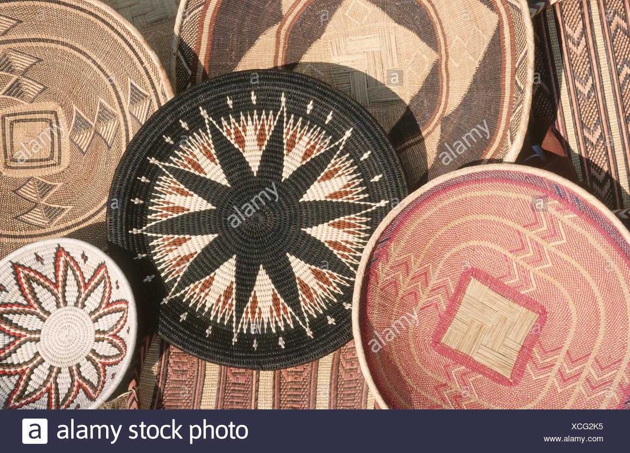 Tradizionale cesto tessuto artigianale, Zimbabwe Immagini Stock