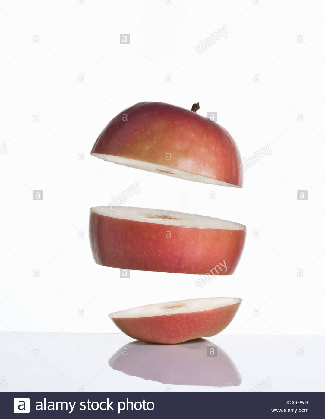 Close up di fette di mela Immagini Stock