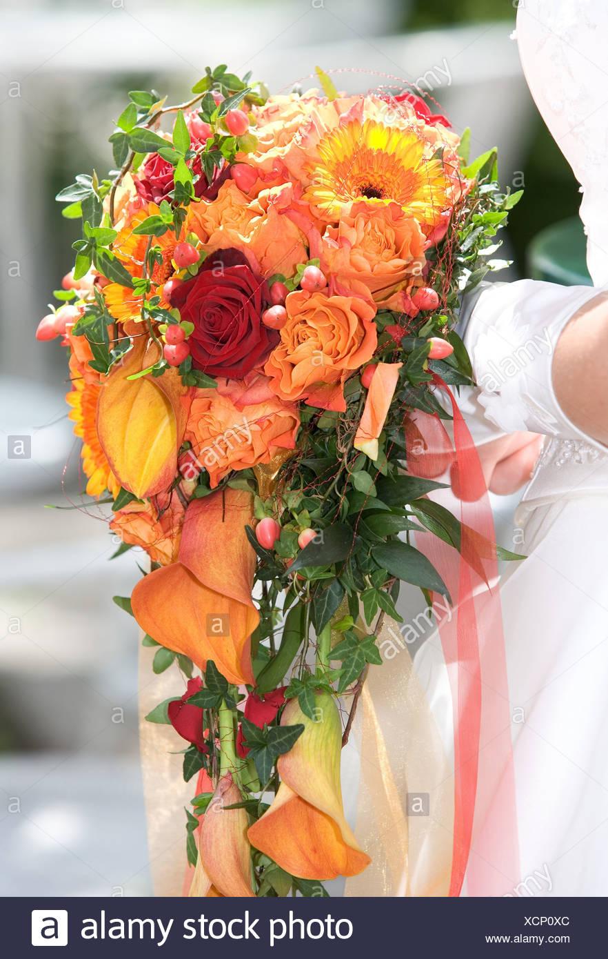 Sposa Dettaglio Mani Guanti Fiore Bouquet Holding