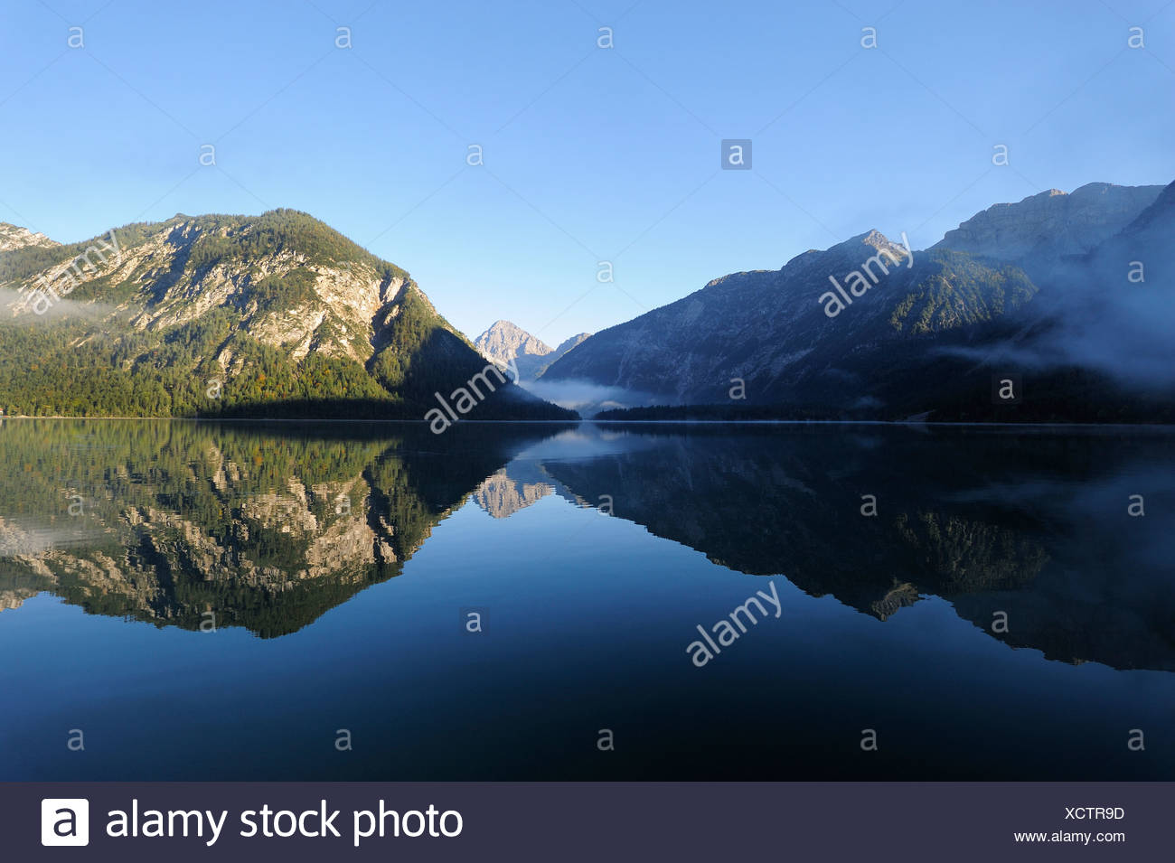 Lago Plansee, Alpi Ammergau, Ammergebirge montagne, guardando verso Thaneller montagna delle Alpi Lechtal, Tirolo, Austria Immagini Stock