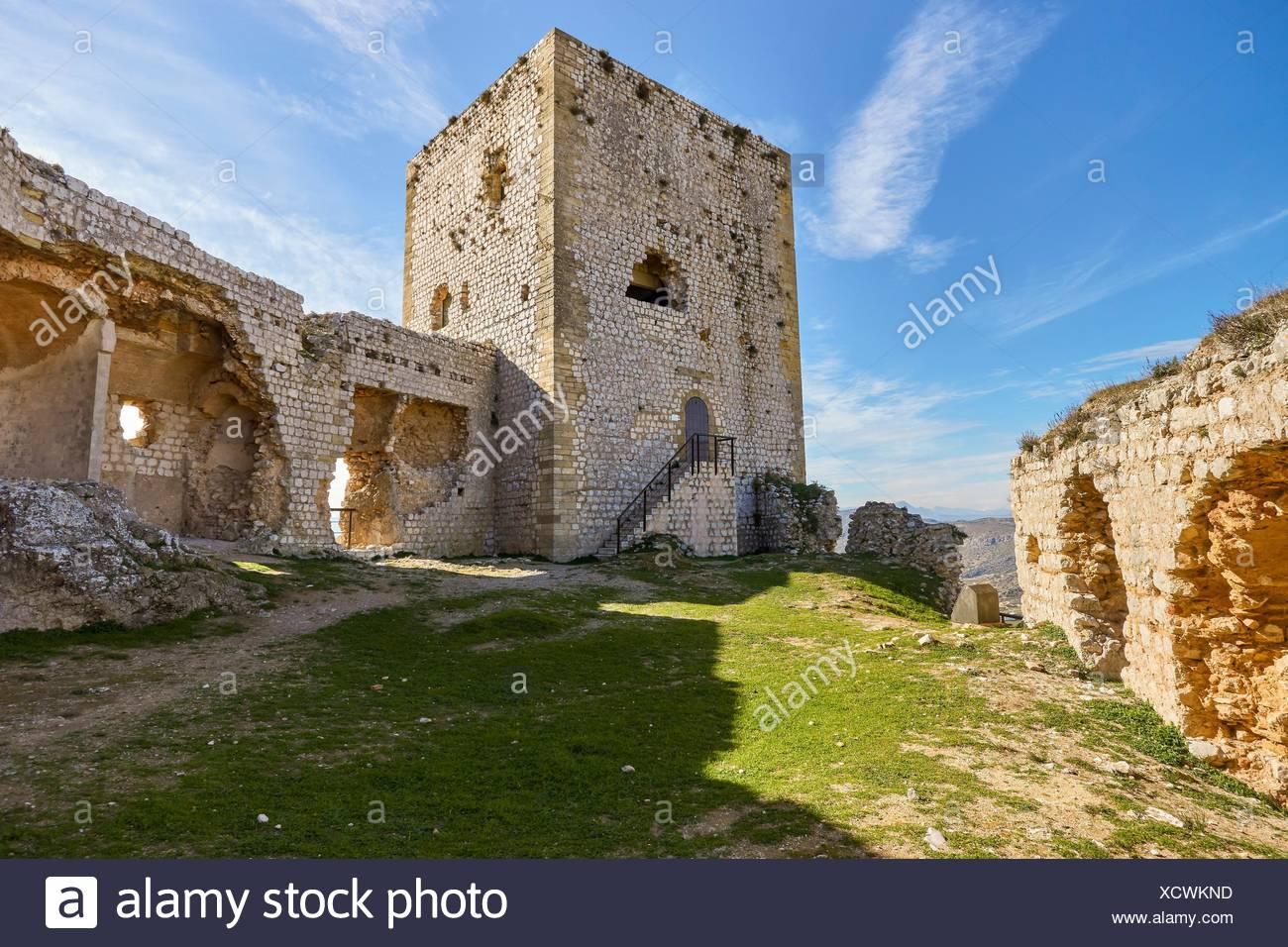 Castello di La Estrella (Hisn Atiba) di Teba, Malaga. Spagna. Immagini Stock