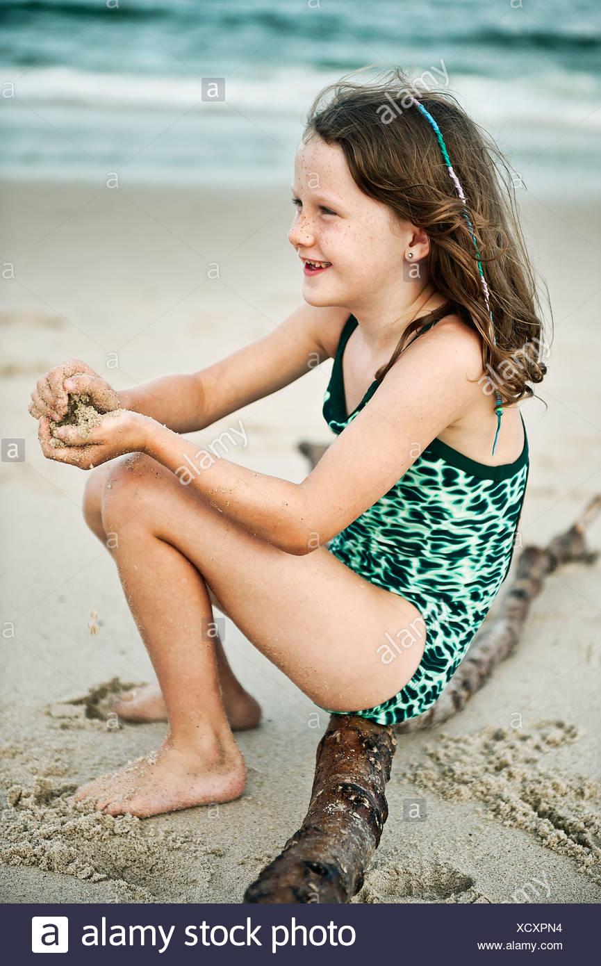Giovane ragazza della spiaggia. Foto Stock