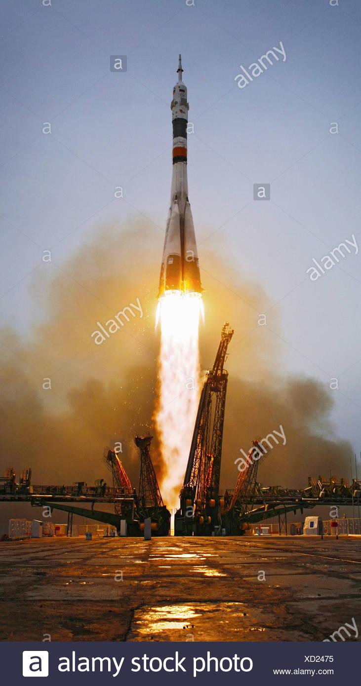 Il decollo della Stazione Spaziale Expedition 19 Immagini Stock
