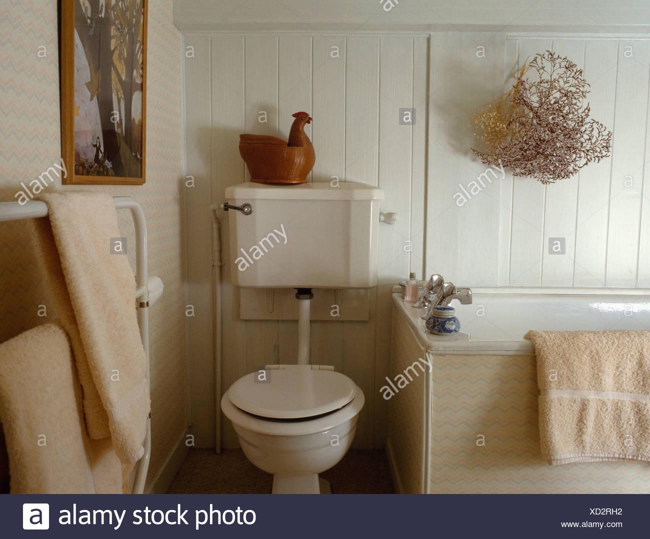 Bagno Beige Piccolo : Il beige wc nel piccolo bagno con secchi corallo sulla carenatura