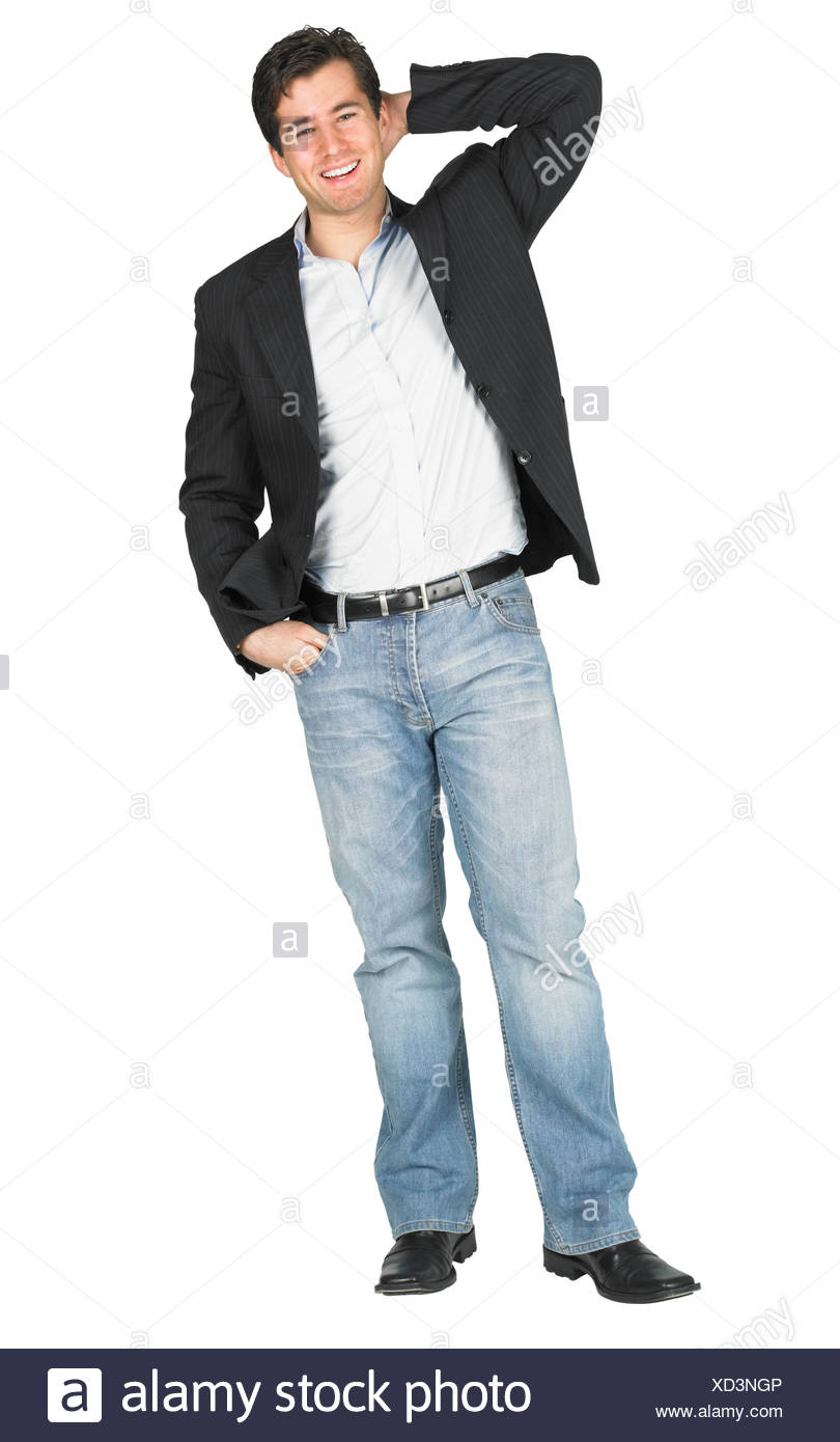Un ragazzo medio in jeans Immagini Stock