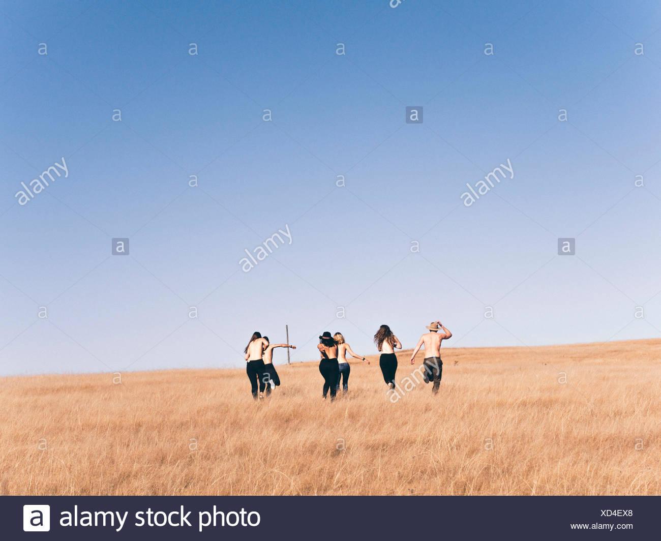 Vista posteriore di uomini e di donne in esecuzione sul campo contro il cielo chiaro Immagini Stock