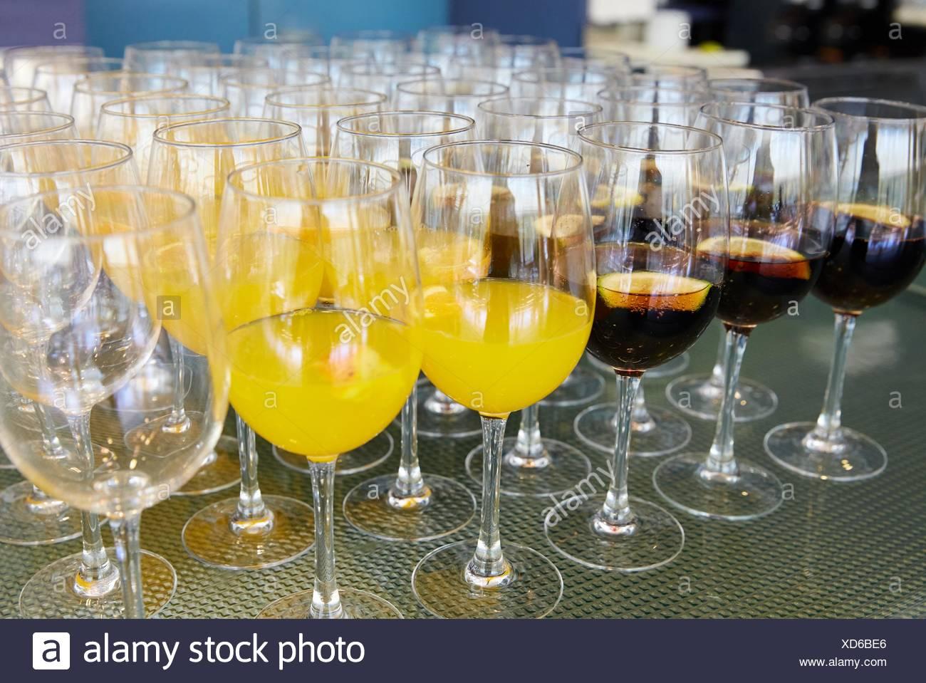 Bevande, bibite analcoliche, congresso Catering Immagini Stock