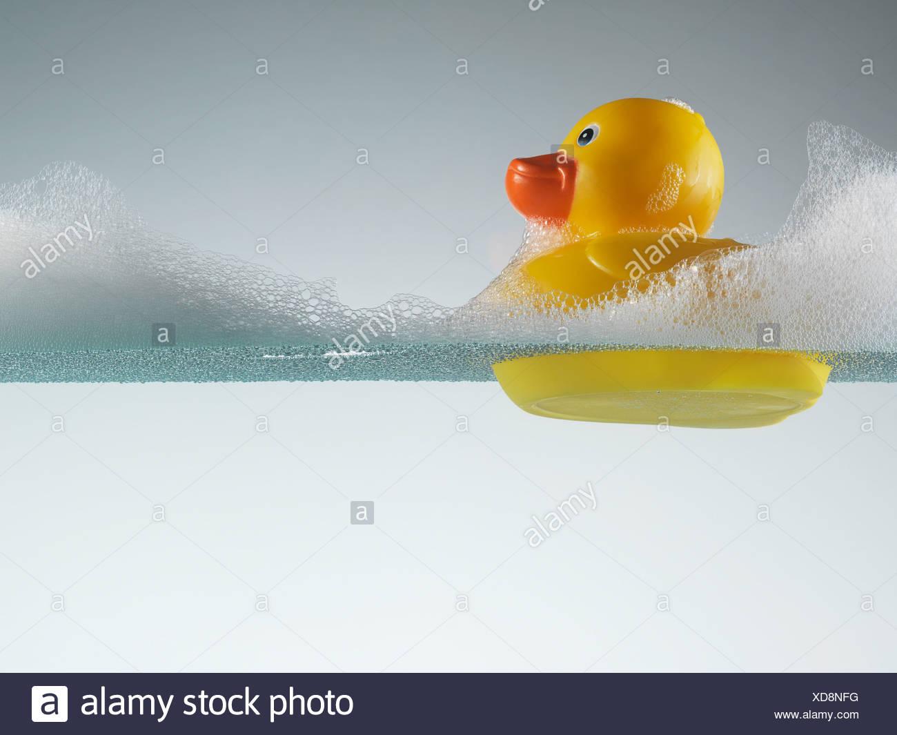 Rubber Duck galleggiante in acqua saponata Immagini Stock