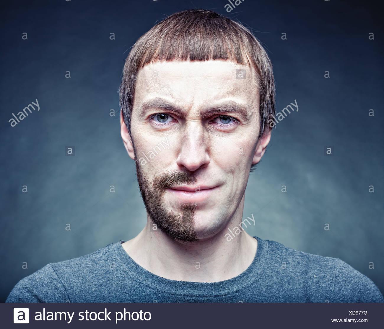 Metà tappa la rasatura del viso. Il concetto di foto Foto Stock