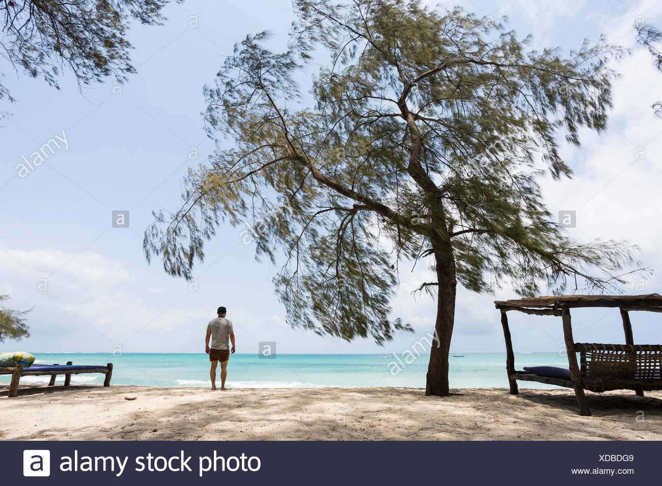 Uomo in piedi sulla spiaggia di Diani, Kenya Immagini Stock