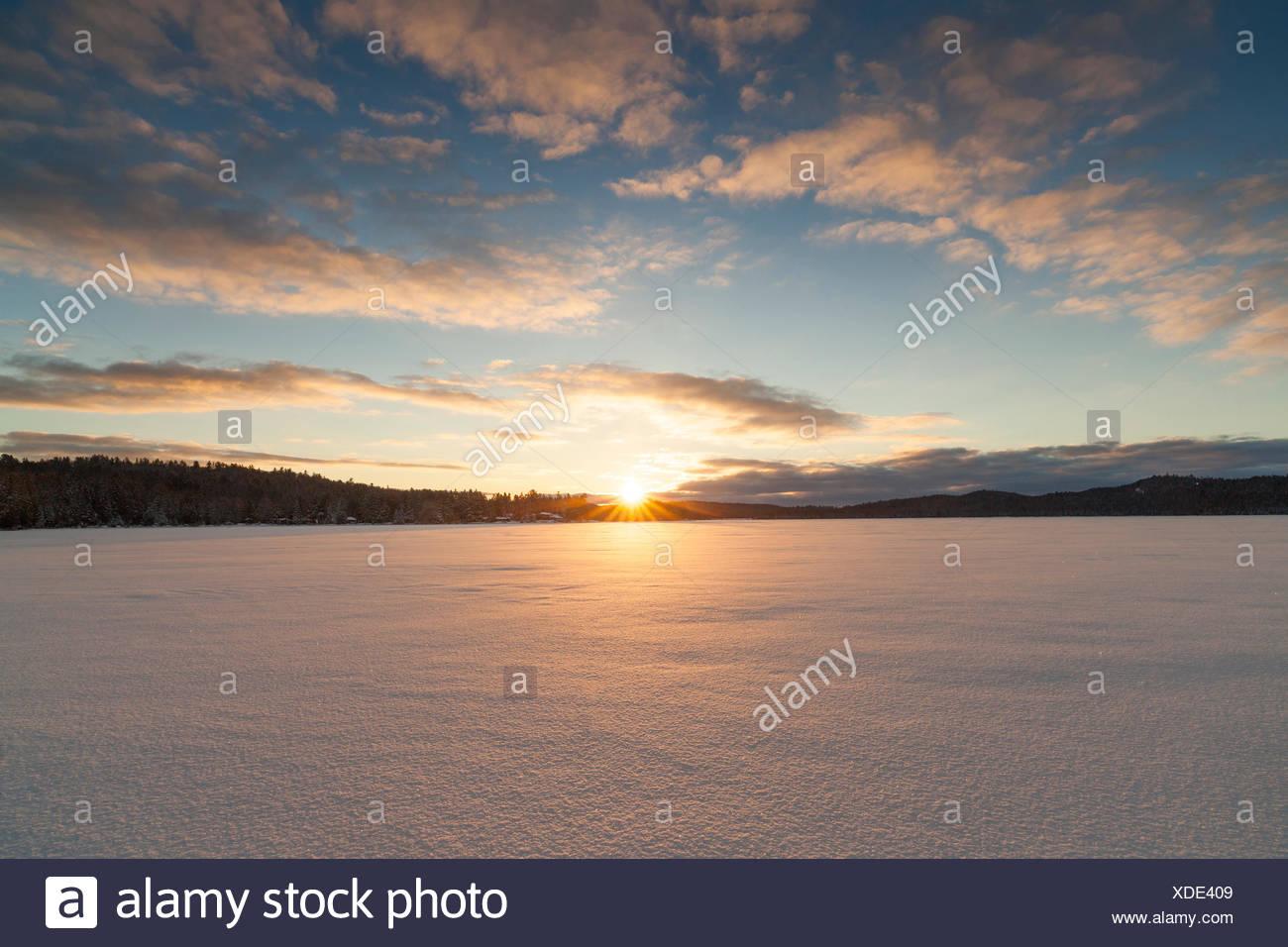 Nel tardo pomeriggio sole sopra un lago ghiacciato di due fiumi di Algonquin Provincial Park, Ontario, Canada Immagini Stock