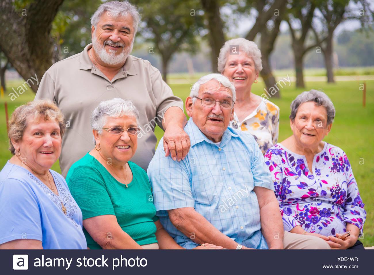 Stati Uniti d'America, Texas, Gruppo foto di cittadini anziani alla riunione di Reunion Immagini Stock