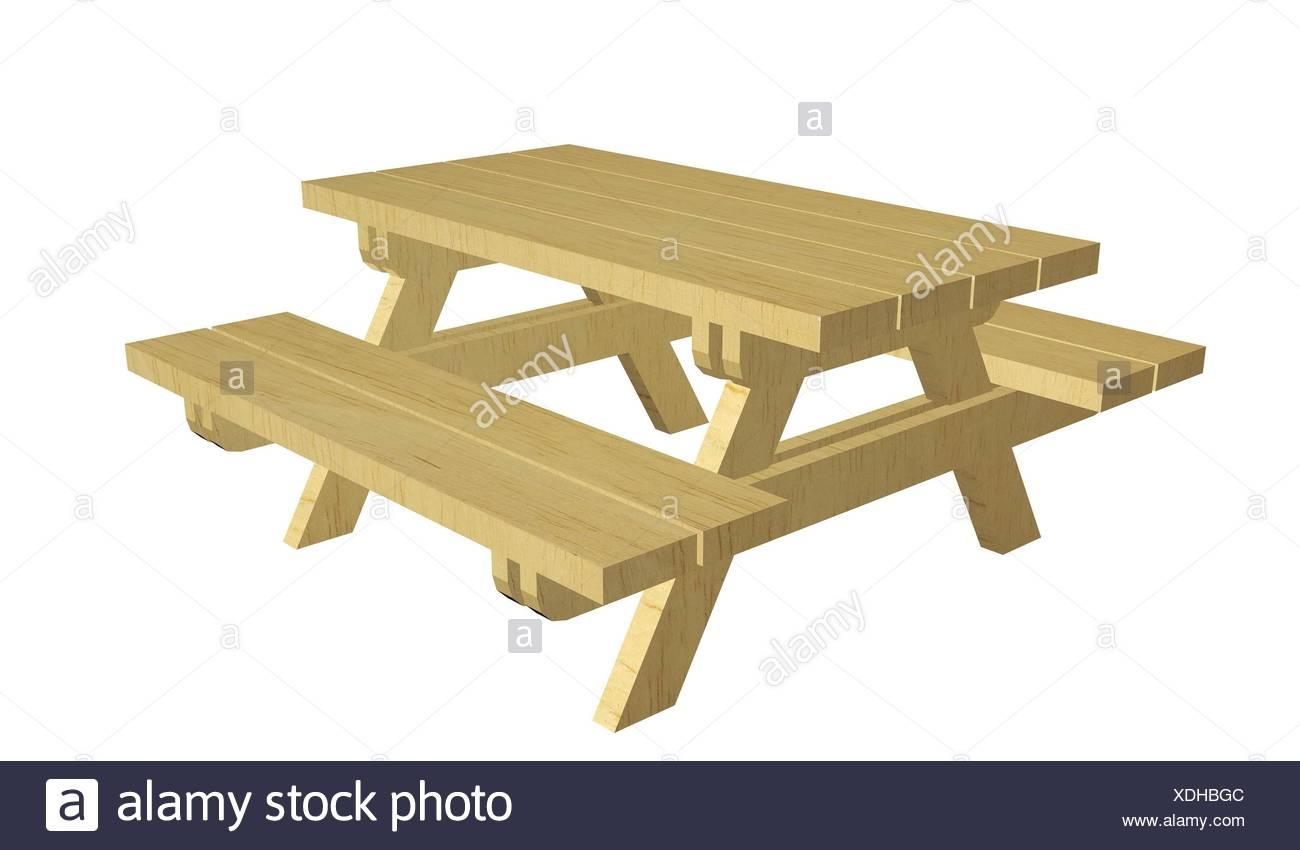 In legno tavolo picnic 3d 39 illustrazione isolata contro - Tavolo pic nic legno ...