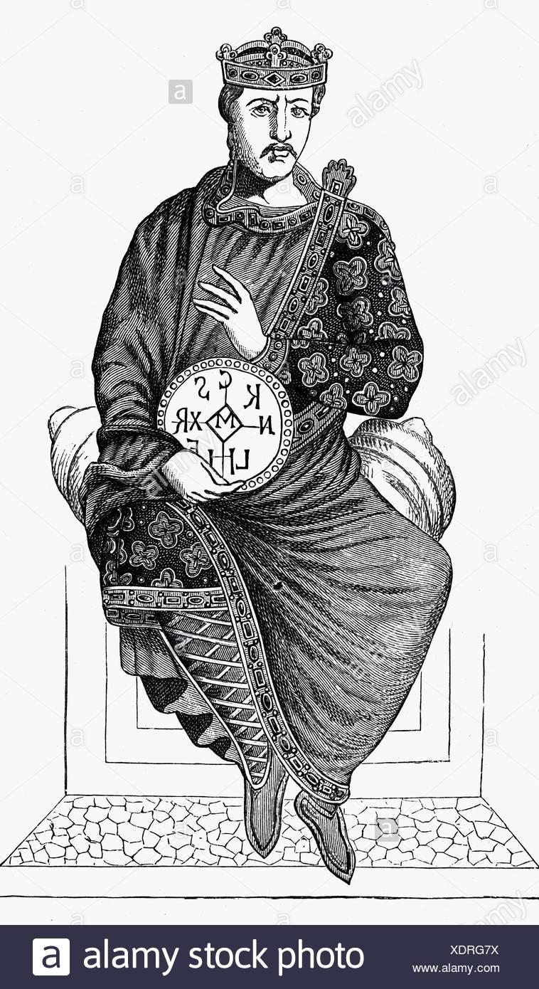 Carlo II 'il Bald', 13.6.823 - 6.10.877, re di Francia occidentale 843 - 877 e imperatore romano 875 - 877, a lunghezza intera, incisione in legno, 19th secolo, , Foto Stock