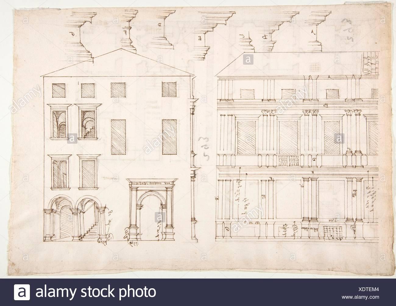 Villa Farnesina, maneggio, metà in elevazione frontale ed in elevazione di estremità (recto) Palazzo Salviati-Adimari, piano (verso). Relatore per parere: disegnato da anonimo, Immagini Stock