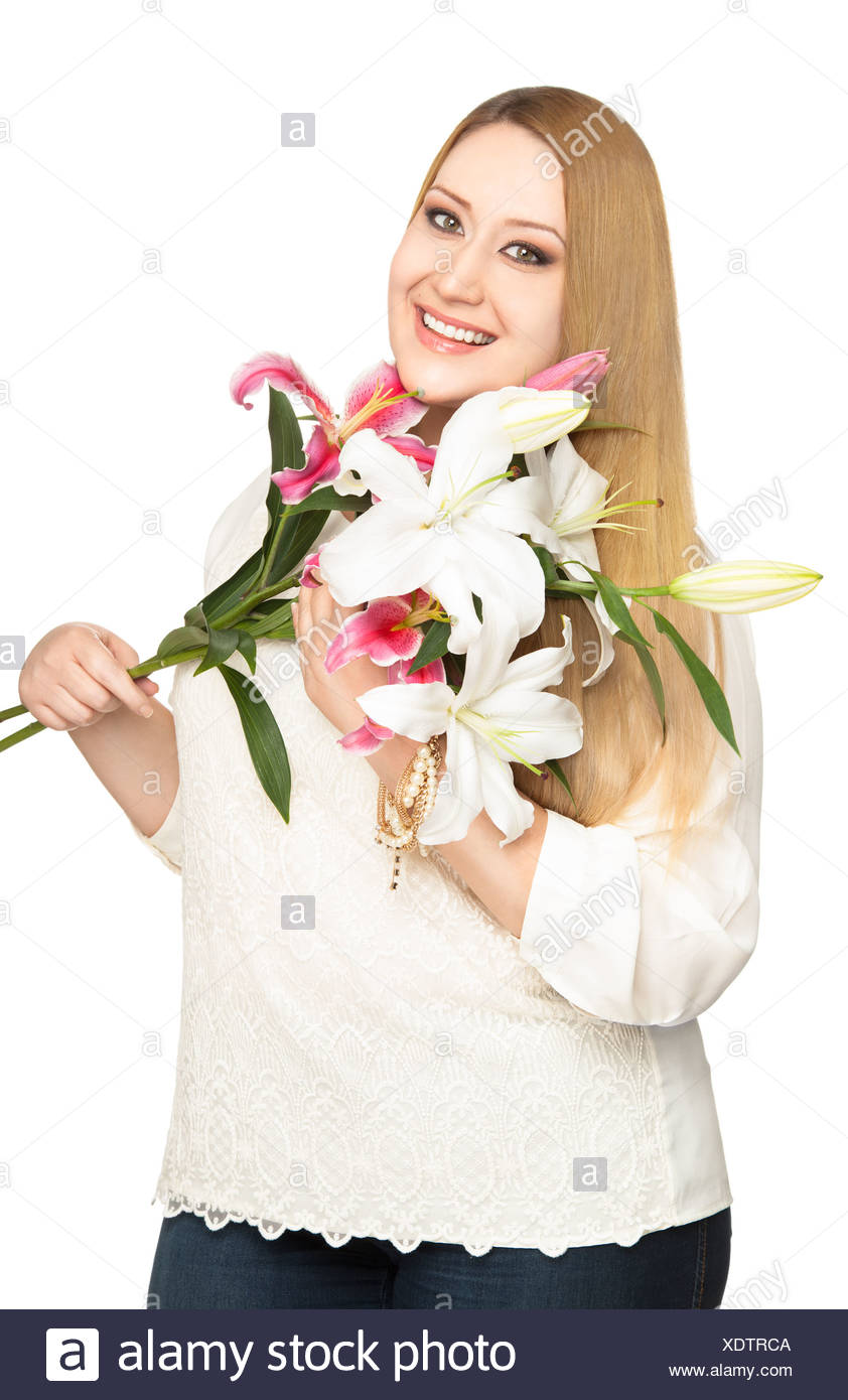 Donna sovrappeso lillies bouquet Foto Stock