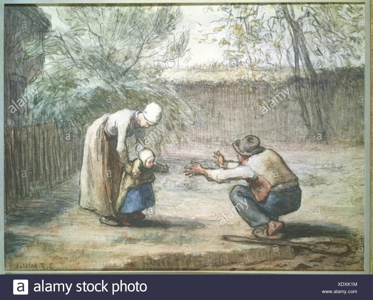 """""""Belle Arti, miglio, Jean-Francois (1814 - 1875), disegno, """"i primi passi"""", collezione privata, Augsburg, Francese, realismo, Sc Foto Stock"""