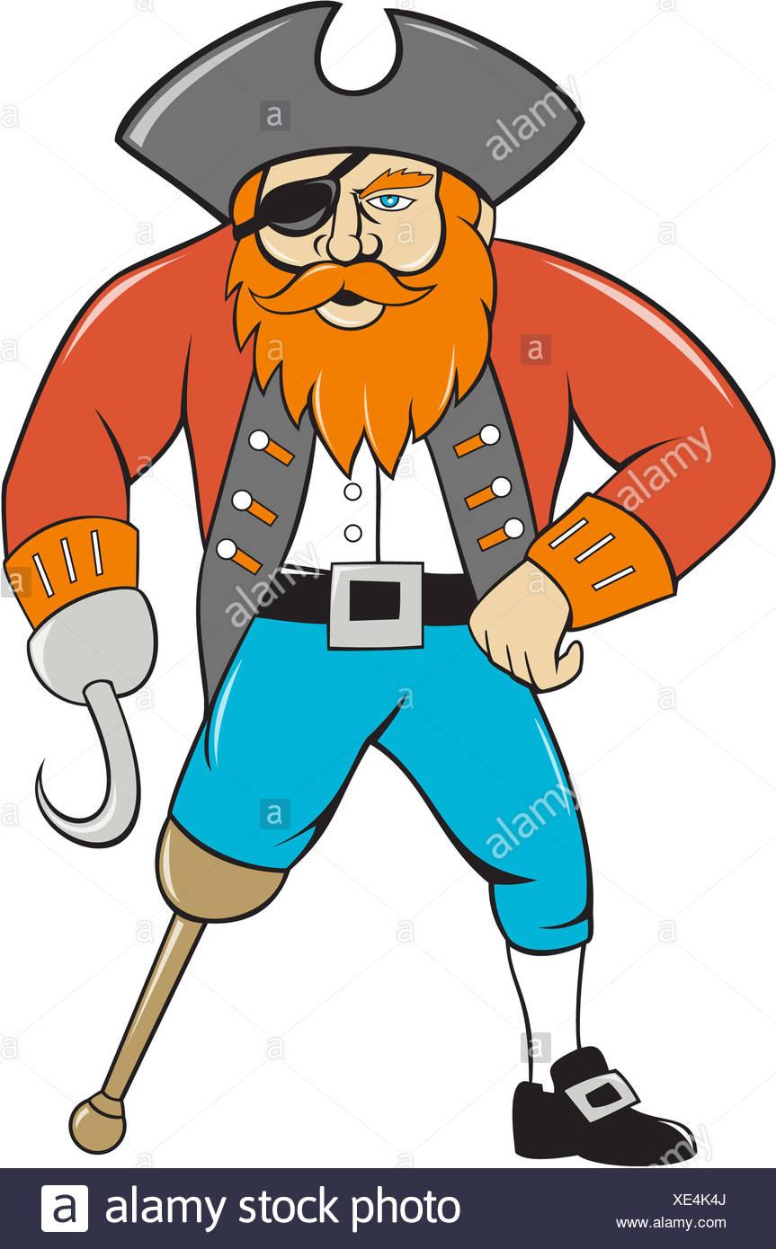 Capitan Uncino Pirata Gamba Di Legno Cartoon Foto Immagine Stock