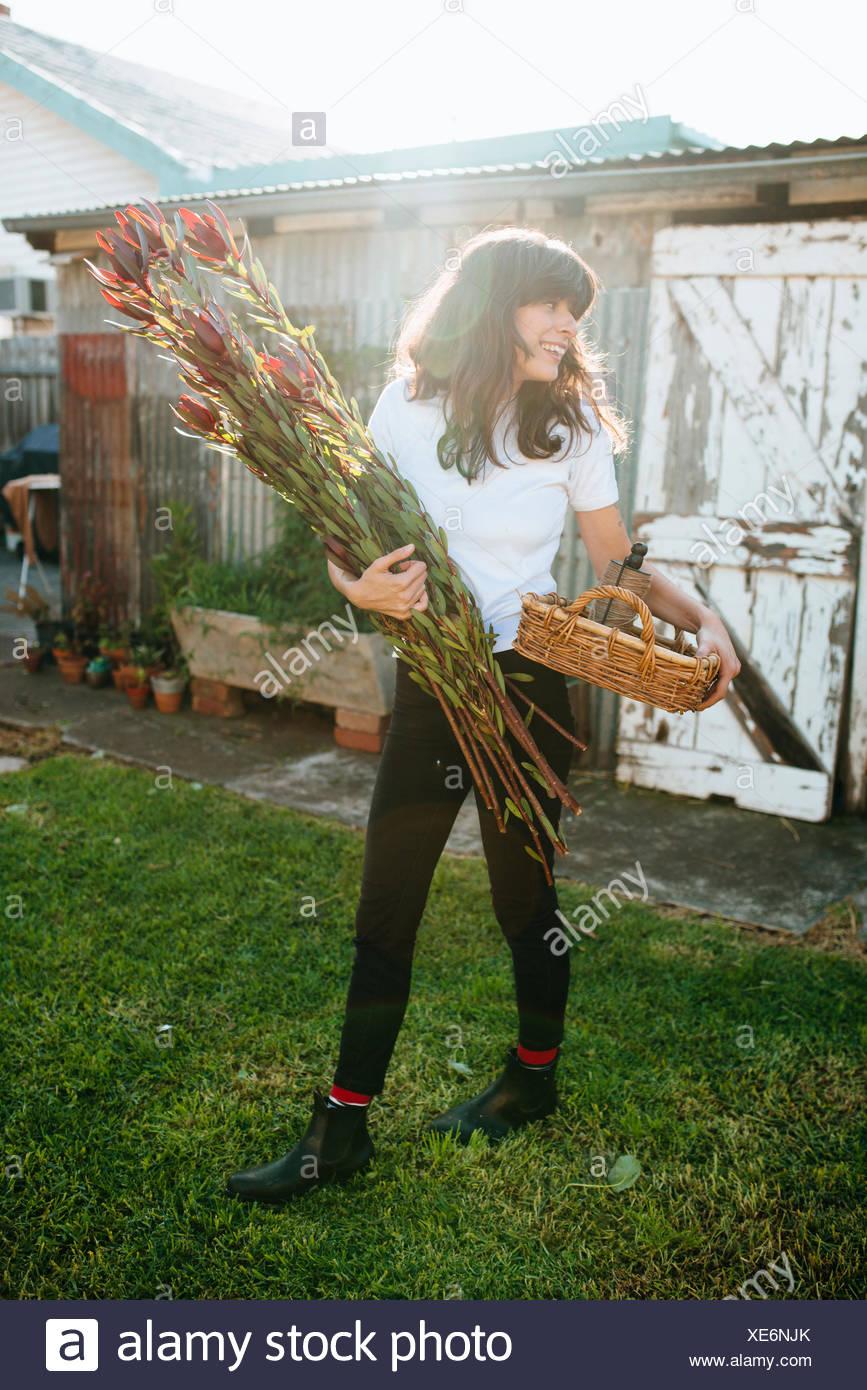 Donna raccolta homegrown fiori nel giardino Immagini Stock