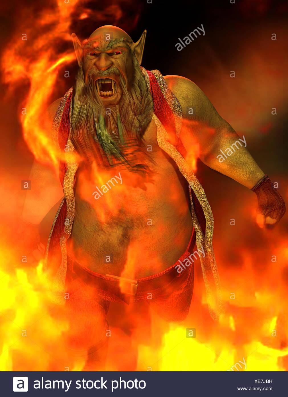 Uomo cattivo in fuoco Immagini Stock