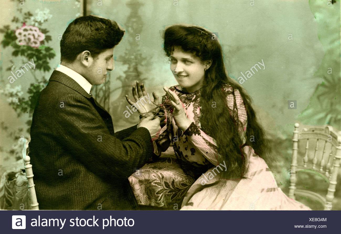 Fotografia storica, flirt, attorno al 1915 Immagini Stock