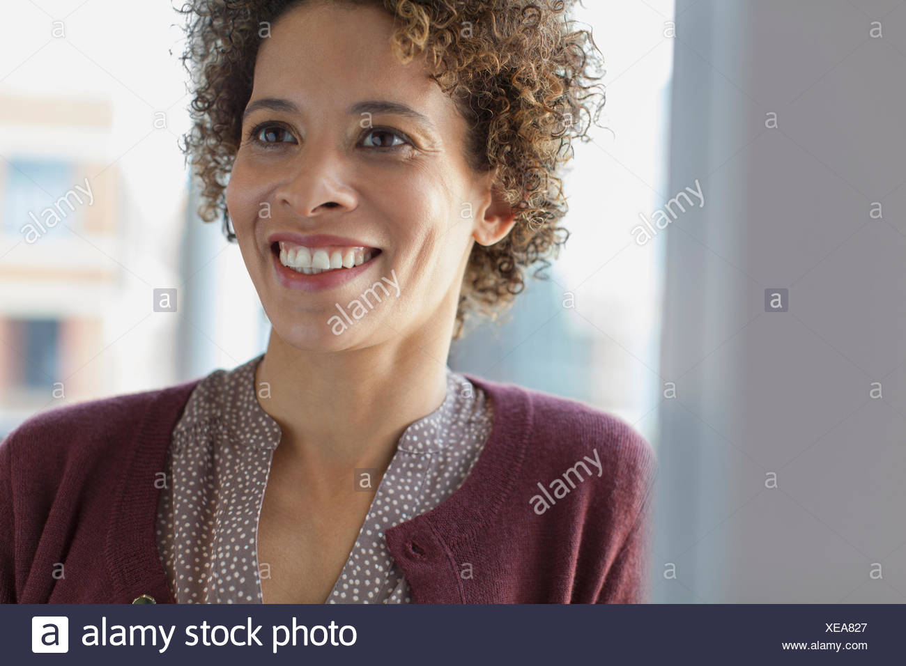 Imprenditrice sorridente in ufficio. Immagini Stock