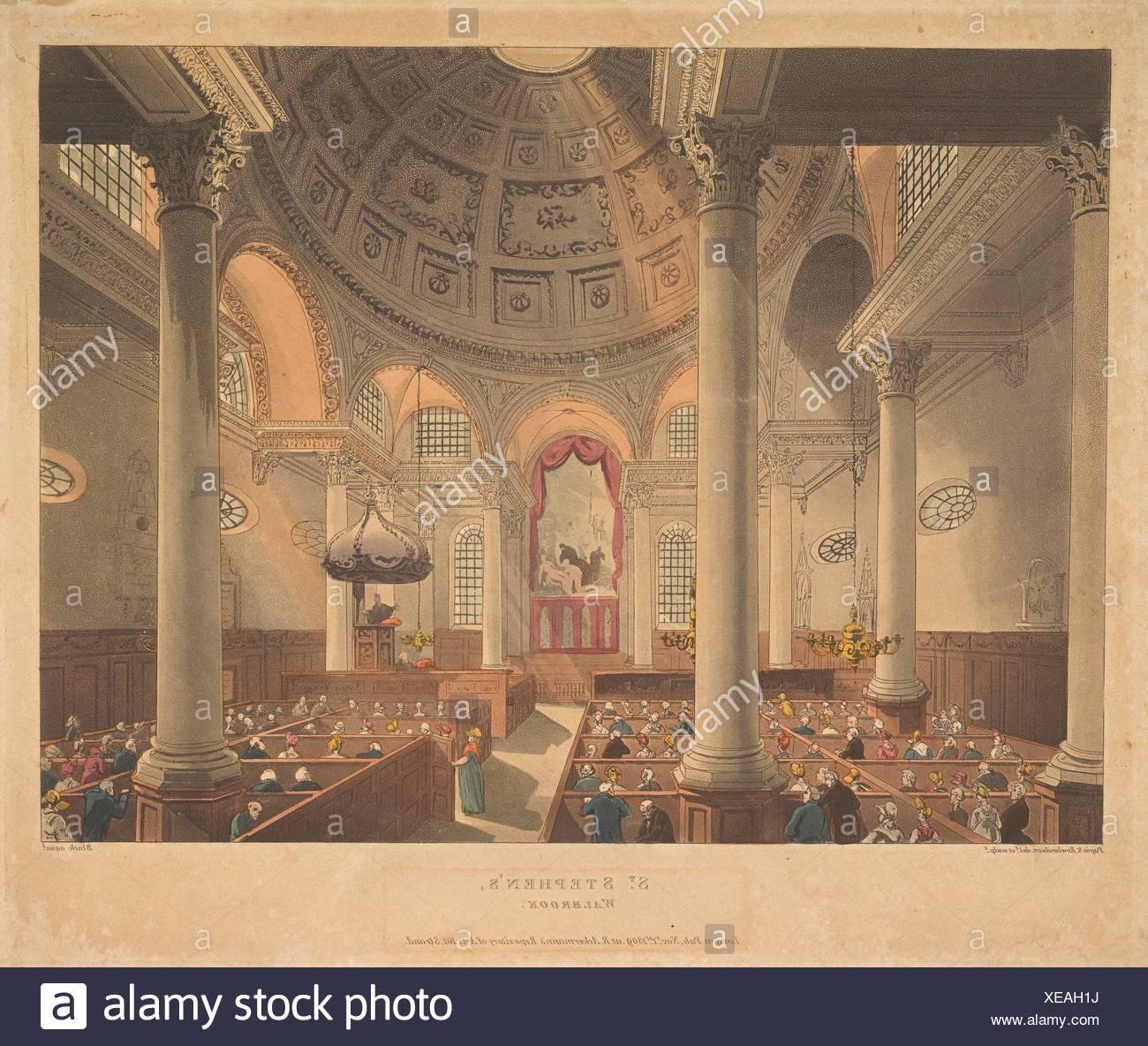 Santo Stefano Walbrook (microcosmo di Londra, pl. 90). Serie/Portfolio: microcosmo di Londra; Artista: progettato e inciso da Thomas Rowlandson Immagini Stock