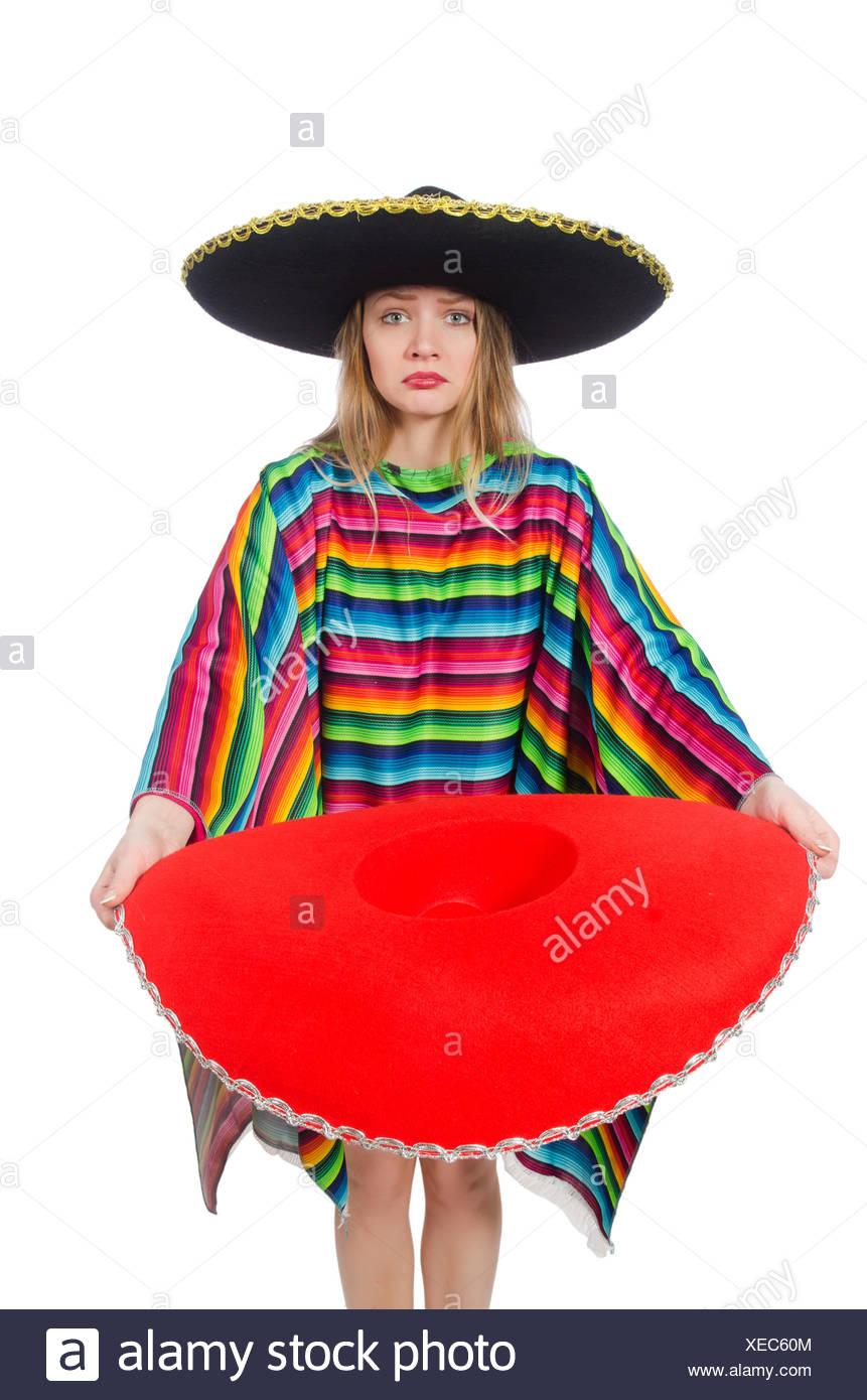 Pretty girl in poncho messicano isolato su bianco Foto   Immagine ... 5d67c59fd4fa