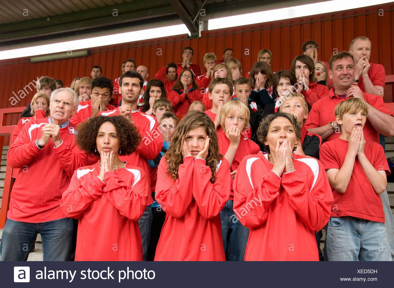 Gruppo del sistema nervoso i tifosi di calcio Immagini Stock