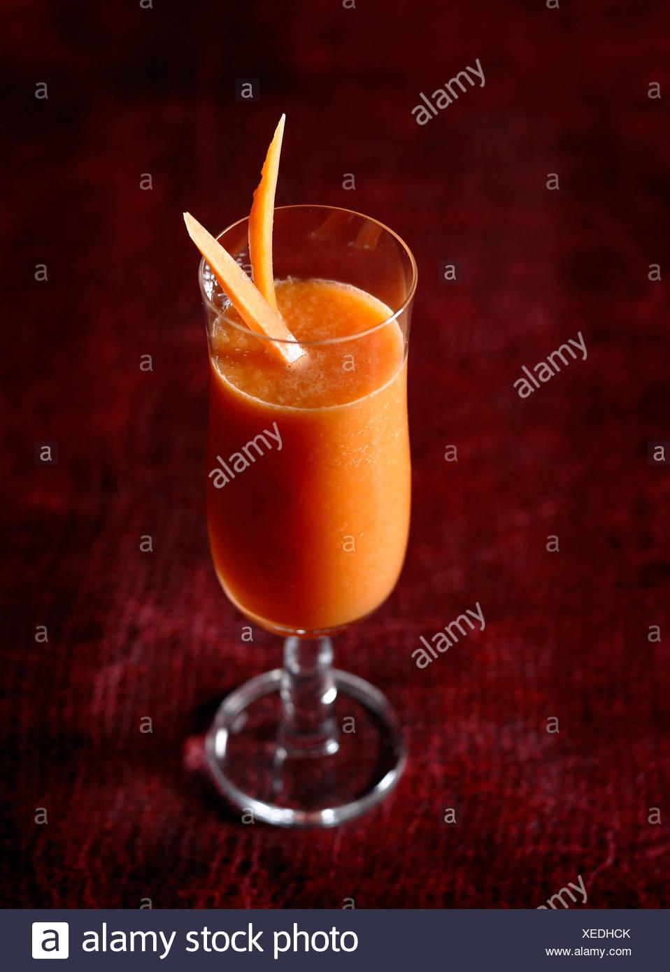 ,Carota melone e il succo di limone Immagini Stock