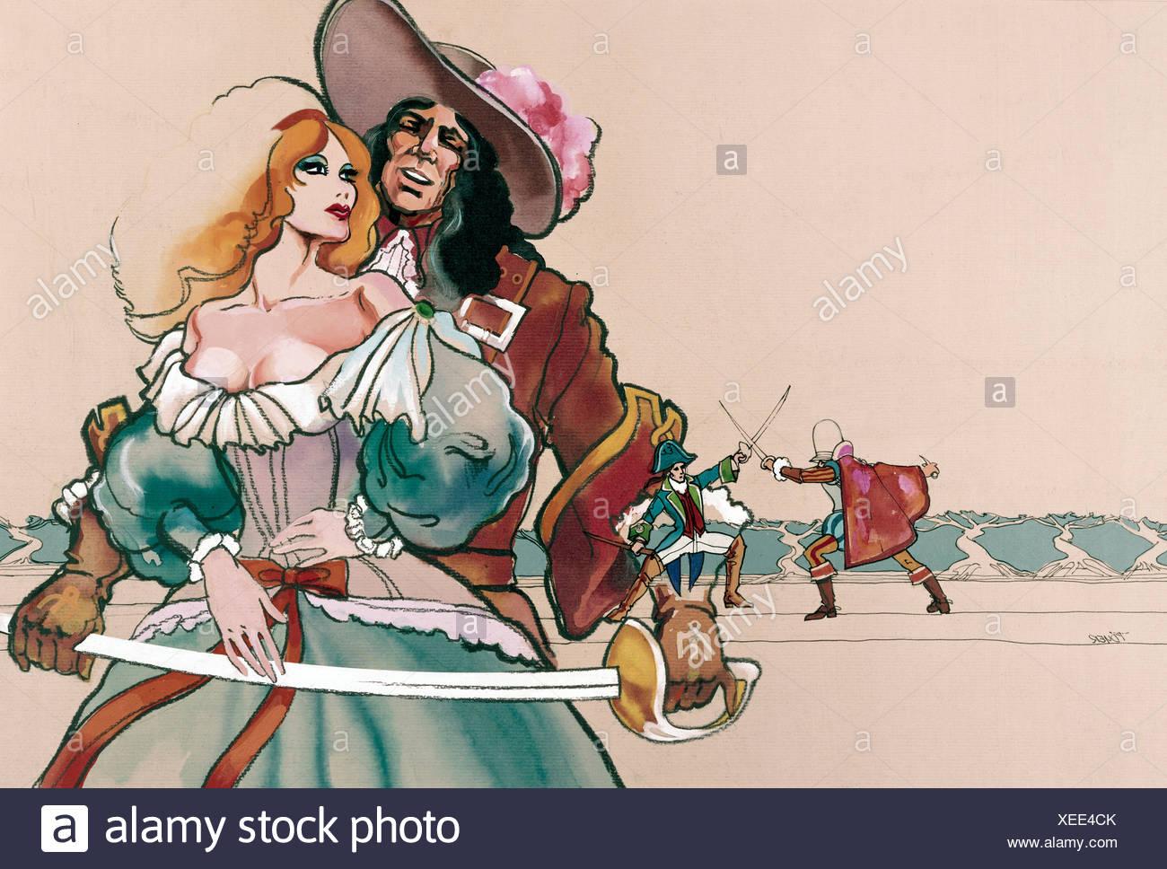 Cavalier Spada attraverso Maden, acquerello Immagini Stock