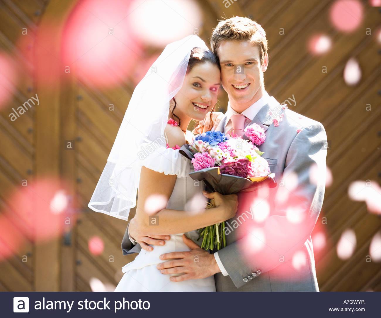 Retrato de uma noiva e noivos Imagens de Stock