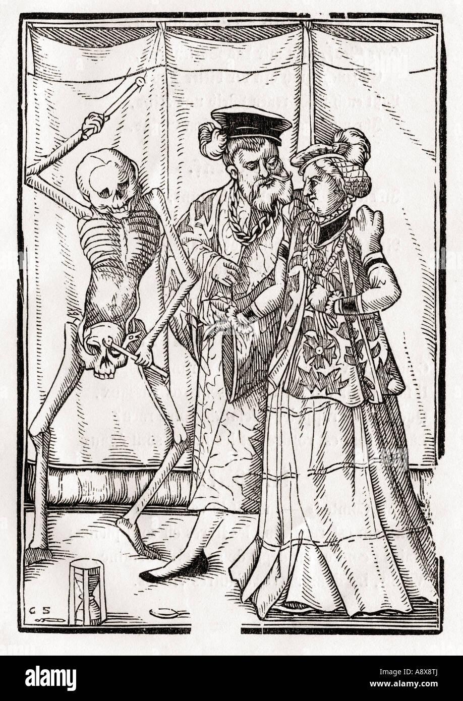 A morte da Duquesa Xilogravura por Georg Scharffenberg De Der Todten Tanz ou a dança da Morte publicado Basel Imagens de Stock
