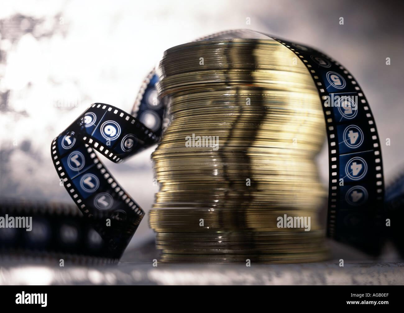 CD e filme Imagens de Stock