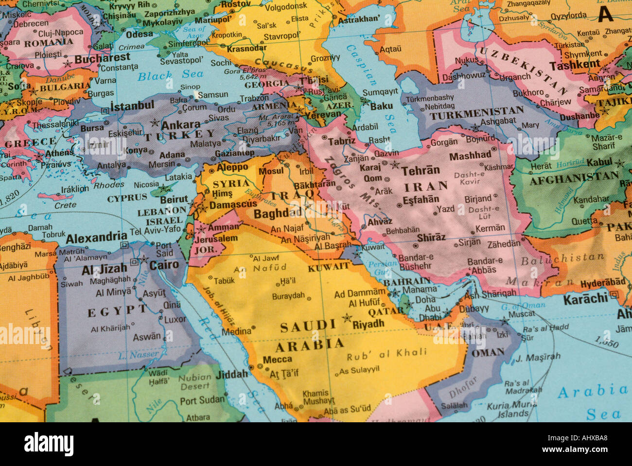 Map Of Continents And Countries illustrated world map with countries and continents Stock Photo